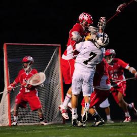 airborne by Kevin Mummau - Sports & Fitness Lacrosse ( defense, hit, penalty, shot, lacrosse )