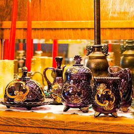 Purple Glassware  by Jeff Brown - Artistic Objects Cups, Plates & Utensils ( plates, purple, cups, artistic objects )
