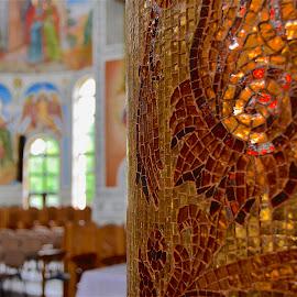 PIllar at Zalau by Mike DeLong - Buildings & Architecture Places of Worship ( church, romania, pillar, gold, zalau )