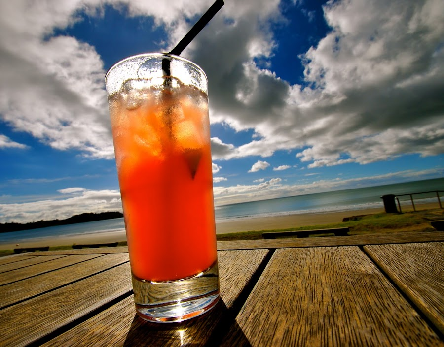 The Perfect Drink by Alexsandra Wiciel - Food & Drink Alcohol & Drinks ( sky, alcohol, drink, beach, paradise, new zealand, pwcpaths )