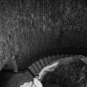 Sleeping Beauty by Joseph Goh Meng Huat - Wedding Bride ( visual emotions, pre-wedding, wedding, black & white, gown, joseph goh meng huat, bride, people, photography )