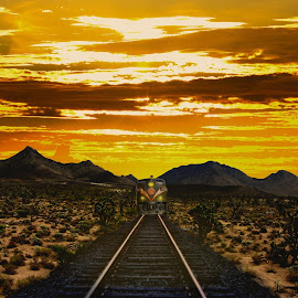 Train driving into the night by Alex  Wolf - Transportation Trains ( clouds, cool, sand, desert, warm, tracks, heat, sun, alex wolf, wolfproduction.us, sunset, train, hot, cactus )