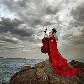 JOY by Beth Schneckenburger - People Fashion ( sunset, woman, cliff, landscape, cello,  )