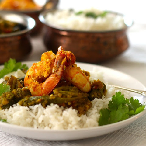 Okra and Tandoori Shrimp