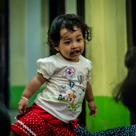 Let's play with me by Ace Afandi - Babies & Children Toddlers ( child photography, children candids, candid, toddler, red dress )