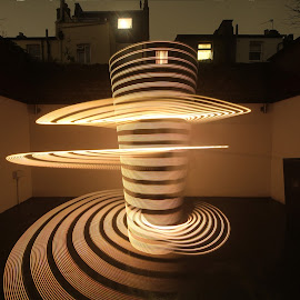 Howdy Neighbour! by Augustin Cross - Abstract Light Painting ( sculpture, spin, circle, shapes )