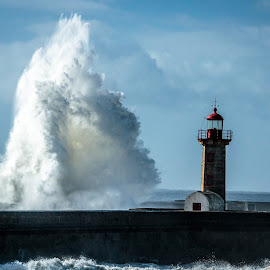 Touching the Sky by Samuk Domingues - Landscapes Waterscapes ( wave, lighthouse, ocean, storm, porto,  )