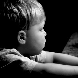 Waiting  by Judy Laliberte - Novices Only Portraits & People ( b & w, toddler, light, boy, profile )