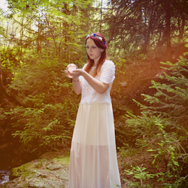 Fairy with glass ball by Denny Gruner - People Fashion ( countryside, shore, model, fashion, wood, plants, fairy, forest stream, beauty, landscape, sexy, girl, nature, mystical, woman, future, lovely, look, water, dream, vision, elegance, green, glass ball, beautiful, forest, relaxation, sunlight, posing, sensual, floral wreath, princess, outdoor, trees, summer, lady, standing )