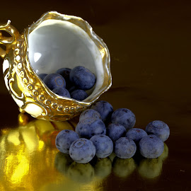 Tea Cup with Blueberries by Cal Brown - Artistic Objects Still Life ( fruit, food, still life, tea cup, artistic objects, blueberries )