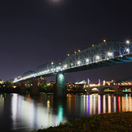 Chattanooga Waterfront by Jeff Whitten - Buildings & Architecture Bridges & Suspended Structures ( chattanooga, market street, tennessee aquarium, north shore, waterfront )