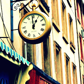 lunch time by Janine Kain - City,  Street & Park  Street Scenes ( colour, clock-hands, building, time, roman-numerals, exterior, clock, street, city )