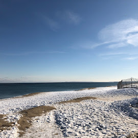 Winter Beachscape with Fence by Kristine Nicholas - Novices Only Landscapes ( water, clouds, sand, waterscape, snowy, fences, ocean, beach, atlantic, landscape, rustic, dusk, salisbury, fencing, winter, cold, snow )