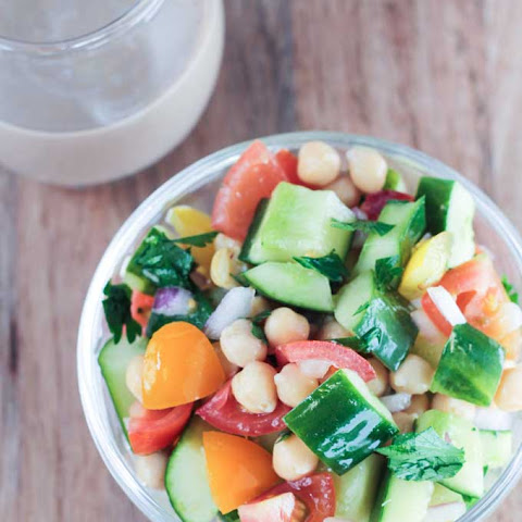 Cucumber Chickpea Salad with Balsamic Tahini Dressing