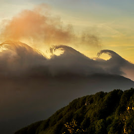 Kelvin Helmholtz cluods by Elena Salvai - Landscapes Cloud Formations ( cloud formations, clouds, mountains, mountain, nature, mount, sunset, cloud, cloudscape, landscape, landscapes )