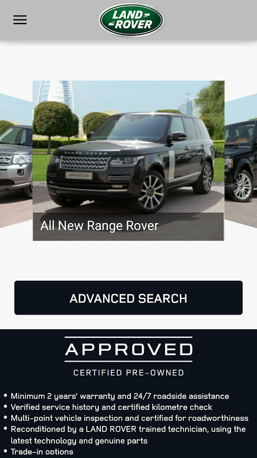 LAND ROVER APPROVED CARS MENA Screenshot 1