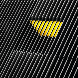 Caged window by Huybrighs Marc - Buildings & Architecture Architectural Detail ( building, lines, yellow, architecture, lisboa, black )