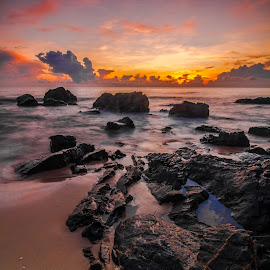 Golden Hour at Pantai Kemasik by Vicneswaran Kuppusamy - Landscapes Sunsets & Sunrises ( sunrise, seascape, blurry, landscape, slow shutter, golden hour )