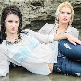 Friends in Denim by Kirk W J Wagner - People Portraits of Women ( water, grunge, blonde, creative, boudoir, jeans, denim, edmonton, wet, brunette, flashbackphoto, river )