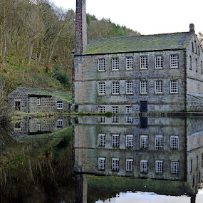 Gibsons Mill, Hardcastle Crags. by James Holdsworth - Buildings & Architecture Public & Historical ( water, mill, old, reflection, moss, trees, woods, pond )