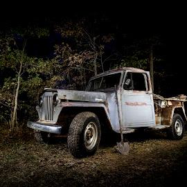 Work Horse by Trey Amick - Transportation Automobiles ( xt1, truck, automobile, xt-1, transportation, nightscape, tools, light painting, jeep, shovel, fujifilm, fuji, night, light )