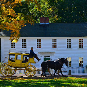 Back in Time by Carl Testo - Transportation Other ( horses, autumn, coach, sturbridge, house )