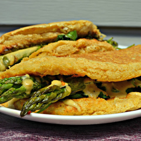 Vegan Souffle Omelette with Asparagus, Spinach & 'Cheese'