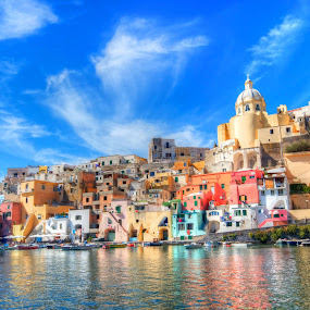 Procida by Francesco Riccardo Iacomino - Buildings & Architecture Homes ( dynamic, naples, old, italian, europe, range, colorful, relax, yellow, seaside, house, beach, panorama, coast, sky, sunny, mediterranean, buildings, sail, pink, summertime, italy, water, church, hdr, green, beautiful, sea, journey, tourism, quiet, boat, paradise, holiday, tourist, vacation, procida, south, hot, summer, island., vignette, tranquillize, italia. napoli, fishing, high, fisherman, panoramic )