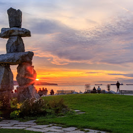 Vancouver Olympic Sunset by Briand Sanderson - Landscapes Sunsets & Sunrises ( olympic monument, canada, sunset, vancouver, british columbia )