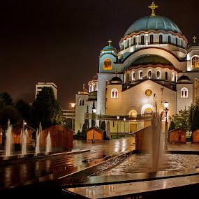St. Sava Temple - Belgrade by Dragan Nikolić - City,  Street & Park  Night