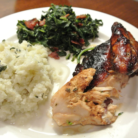 Jerk Chicken With Cauliflower Coconut Rice And Bacon Greens