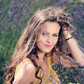 The wind in her hair by Adina Ionut - People Portraits of Women ( wind, girl, beauty, flowers, lavender )