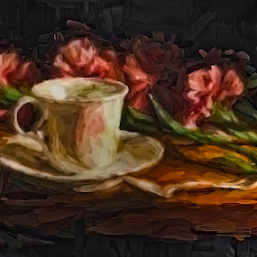 A Demitasse by Allen Crenshaw - Drawing All Drawing ( oils, coffee, traditional art, painting, impressionism )