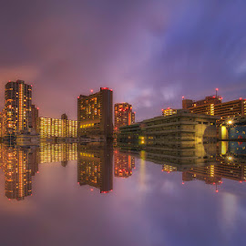 City Reflections by Nyoman Sundra - City,  Street & Park  Night ( japan, tokyo, reflections, tamachi, night, city )
