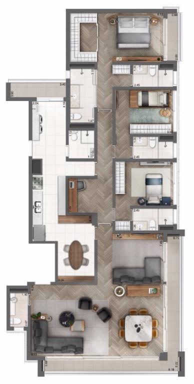 Planta Opção Living Ampliado - 202 m²