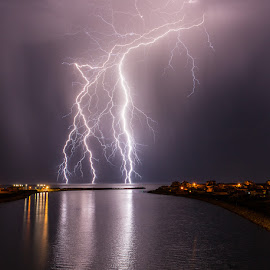 Ocean Bolts by Grahame Kelaher - Landscapes Weather ( harbour lightning storm reflection )