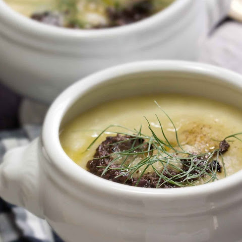 Potato, Fennel & Leek Soup with Black Olive Tapenade