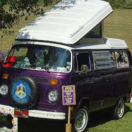 VW Camper by David Walters - Transportation Automobiles ( car, camper, purple, vw bus, show, transportation, sony hx400v )