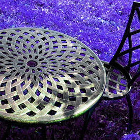 Diamond Chair by Dorothy Koval - Abstract Patterns ( chair, pwcabstractdiamonds-dq, outdoor table, metal, diamond top table, round, blue grass )