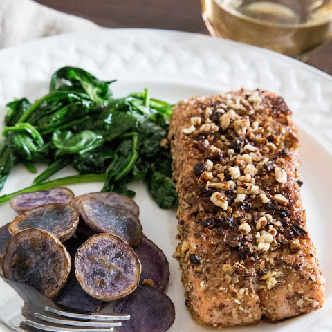 Pecan-Crusted Salmon with Sautéed Greens & Potatoes