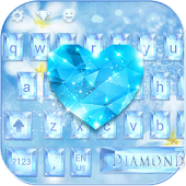 Diamond Blue Keyboard Theme Glitter Flower APK for iPhone
