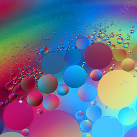 Floating by Janet Herman - Abstract Macro ( abstract, oil and water, macro, colourful, floating, reflections, colours )