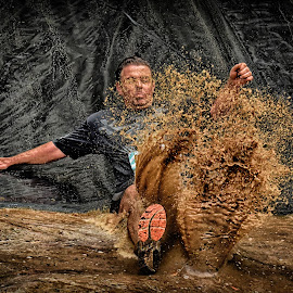 Straight Into The Soup ! by Marco Bertamé - Sports & Fitness Other Sports ( water, differdange, splah, splatter, 2015, waterdrops, soup, luxembourg, sliding, mud, strong, dirty, drops, brown, strongmanrun, man )