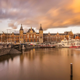 Amsterdam Station by Nikolas Ananggadipa - City,  Street & Park  Street Scenes ( orange, train station, long exposure, amsterdam, rivers, river, city )