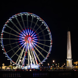Place Concorde by Photoxor AU - City,  Street & Park  Amusement Parks ( paris, colorful, night, france, place concorde )