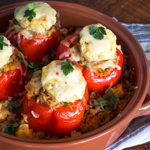 Vegetarian Jambalaya Stuffed Red Peppers Casserole | #SundaySupper