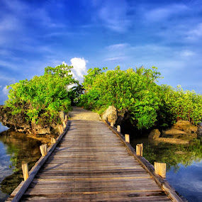 narrow shortcut by Alvin Lee Hahuly - Landscapes Travel ( narrow, blue sky, bridge, rocks, wooden bridge )