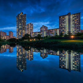 by Gordon Koh - Buildings & Architecture Homes ( pond, reflection, city, dusk, night, asia, city park, bishan, singapore, modern, urban, symmetry, nightscape, cityscape, modern city, blue hour, park )