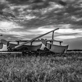 low tide by Joe Uhase - Transportation Boats ( clouds, water, sky, grass, boat )