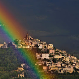 Trevi by Vincent van Kooten - City,  Street & Park  Historic Districts ( umbria, trevi, umbra, landscape, medieval, italy, rainbow, city )